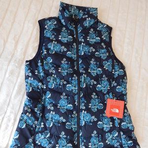 Women's Navy Floral Down Vest